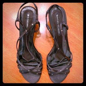 Bandolino dressy satin & rhinestone heels